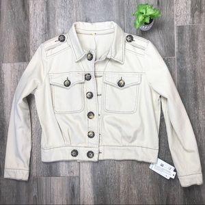 New Free People Ivory Eisenhower Denim Jacket - XS